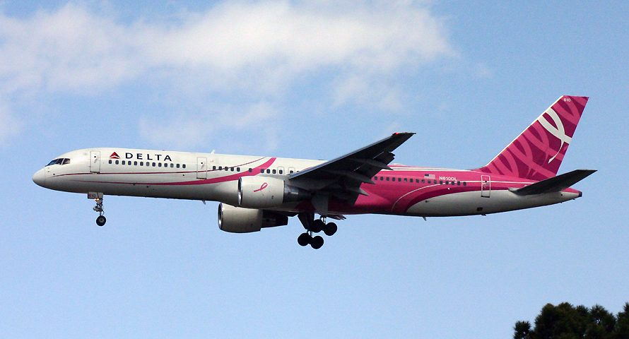 N610DL, Delta, B757-200, Breast Cancer Awareness